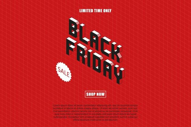 Izometryczny szablon projektu transparent `` sprzedaż w czarny piątek ''.
