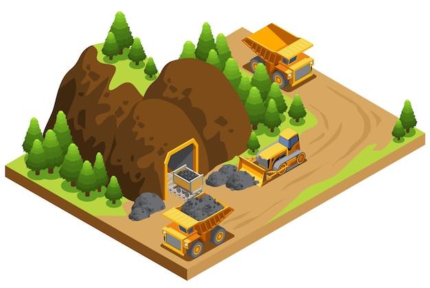Izometryczny szablon przemysłu wydobycia węgla