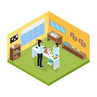 Izometryczny szablon salonu pielęgnacji zwierząt domowych z nożycami do strzyżenia psa na stole na białym tle