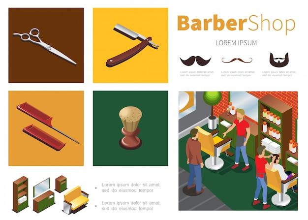 Izometryczny szablon sklepu fryzjerskiego z fryzjerami klienci szafka lustro sofa krzesła nożyczki brzytwa szczotka do golenia grzebienie wąsy broda sylwetki