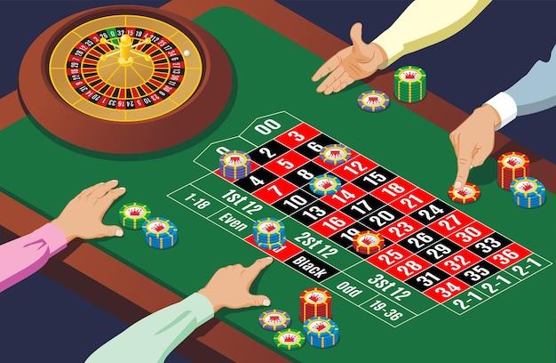 Izometryczny szablon stołu do ruletki w kasynie z rękami grających koło ludzi i kolorowe żetony