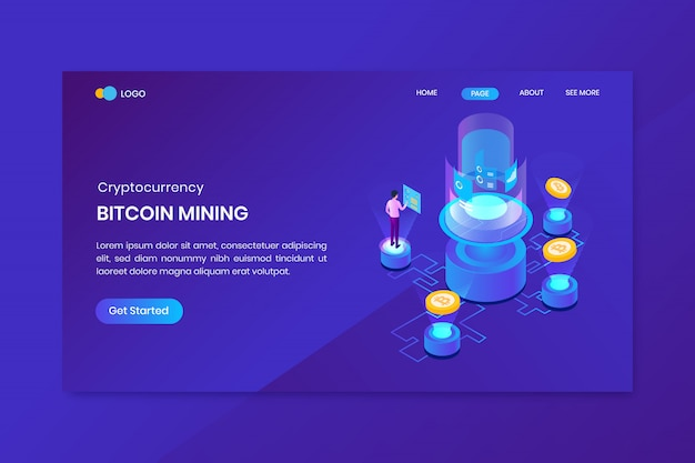 Izometryczny szablon strony docelowej kryptowaluty bitcoin