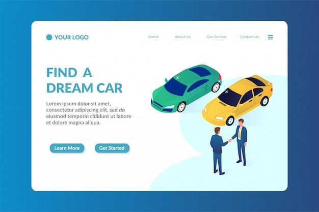 Izometryczny szablon strony docelowej strony internetowej dealera samochodów