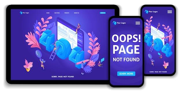 Izometryczny szablon strony docelowej strony internetowej z pojęciem błędu 404. nowoczesny projekt projektu strony internetowej na stronę internetową i mobilną. łatwy do edycji i dostosowywania, adaptacyjny interfejs użytkownika ux.