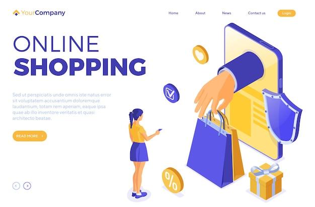 Izometryczny szablon strony docelowej zakupów i dostawy online