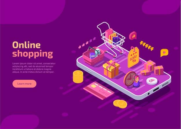 Izometryczny szablon strony docelowej zakupów online, baner internetowy na fioletowym tle.