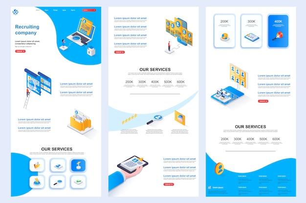 Izometryczny szablon strony internetowej firmy rekrutacyjnej, środkowa zawartość i stopka strony docelowej