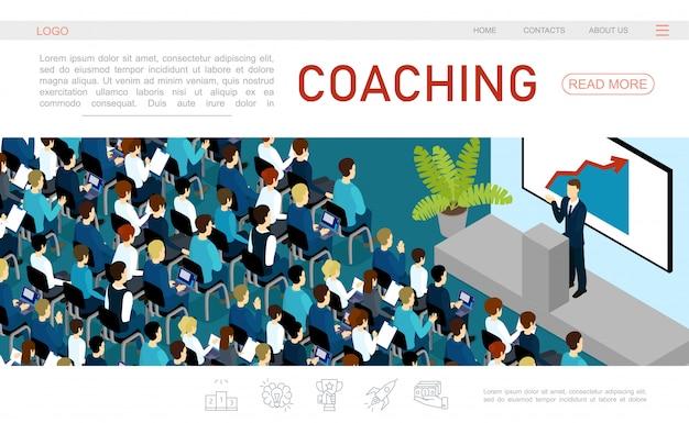Izometryczny szablon strony internetowej konferencji biznesowej z biznesmenem przemawiającym do publiczności z trybuny