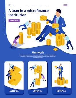 Izometryczny szablon strony internetowej organizacja mikrofinansowania strony docelowej, duży biznesmen posiadający dużo pieniędzy. adaptacyjne 3d