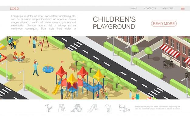 Izometryczny szablon strony internetowej placu zabaw dla dzieci z dziećmi i rodzicami w parku rekreacyjnym zjeżdżalnie ławki huśtawki piaskownica drzewa budynki