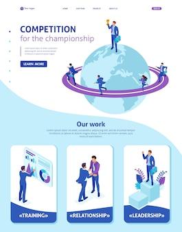 Izometryczny szablon strony internetowej strona docelowa biznesmen na szczycie świata, przedsiębiorcy konkurują