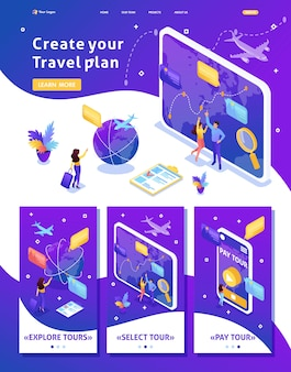 Izometryczny szablon strony internetowej strona docelowa turyści patrzą na glob i wybierają kierunek relaksu. adaptacyjny