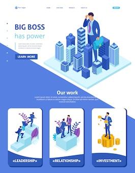 Izometryczny szablon strony internetowej strona docelowa wielki biznesmen patrzy na miasto, pojęcie władzy