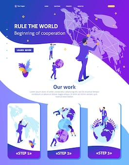Izometryczny szablon strony internetowej strona docelowa wielki biznesmen rządzący światem, mapa świata