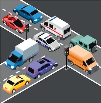 Izometryczny szablon transportu miejskiego