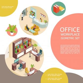 Izometryczny szablon wnętrza biura z meblami i ludźmi biznesu
