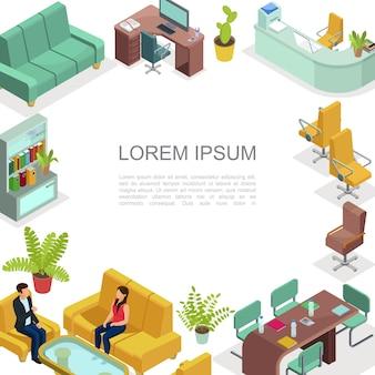 Izometryczny szablon wnętrza biura ze stołami wygodne krzesła sofy fotele regał rośliny drukarka rozmowa współpracowników miejsce do pracy do negocjacji biznesowych