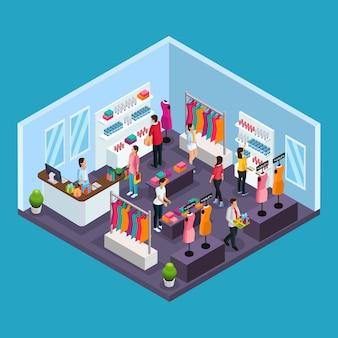 Izometryczny szablon zakupów wakacyjnych z ludźmi kupującymi ubrania i kostiumy w sklepie odzieżowym na białym tle