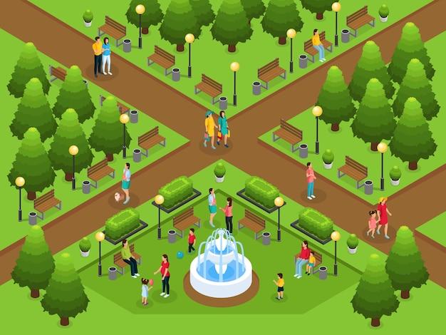 Izometryczny szablon zdrowego stylu życia kobiet w ciąży spacerujących rozmawiających z mężem dziewczyny bawiącej się dziećmi w parku