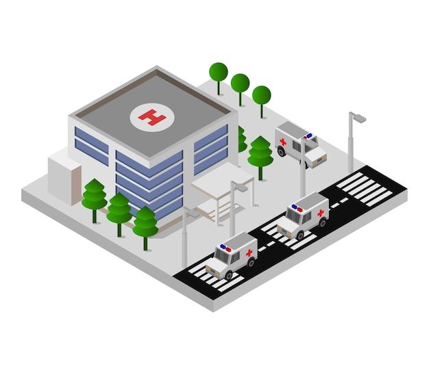 Izometryczny szpital