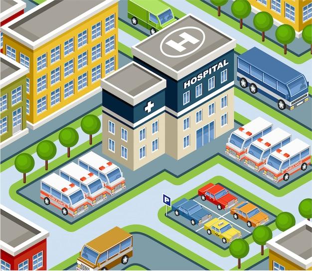 Izometryczny szpital.