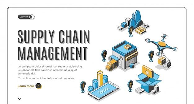 Izometryczny sztandar zarządzania łańcuchem dostaw