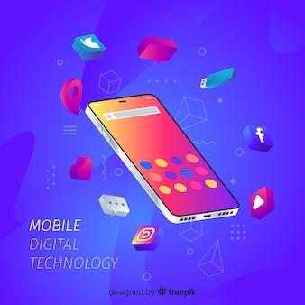 Izometryczny telefon komórkowy otoczony aplikacjami