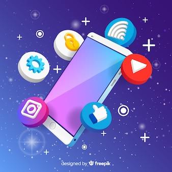 Izometryczny telefon komórkowy z elementami
