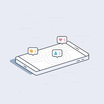 Izometryczny telefon komórkowy z koncepcją powiadomień sieci społecznej. kolorowa nowożytna ilustracja.
