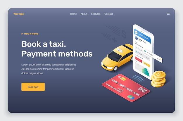 Izometryczny telefon z czerwoną kartą kredytową żółtego samochodu taksówki i złotymi monetami szablon strony docelowej