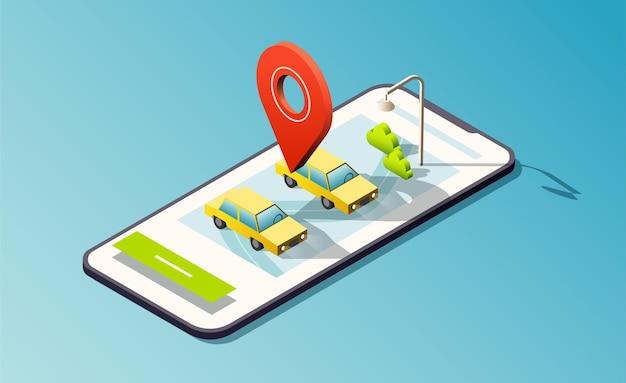 Izometryczny telefon z drogami, taksówkami i czerwoną pinezką lokalizacji.