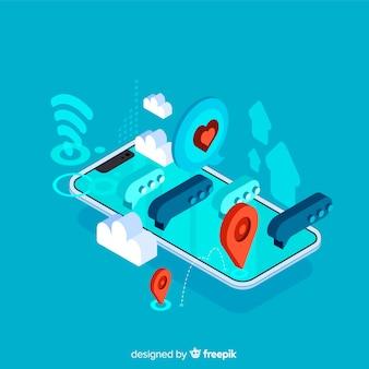 Izometryczny telefon z koncepcją czatu