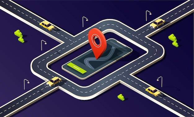 Izometryczny telefon z mapą, drogą, żółtymi samochodami i czerwoną pinezką lokalizacji na ciemnym tle.