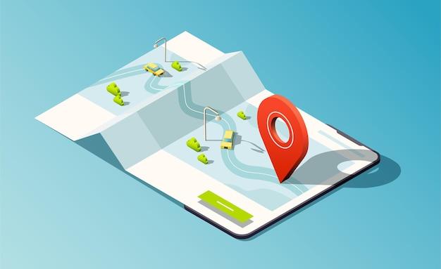 Izometryczny telefon z mapą, drogami, taksówkami i czerwoną pinezką lokalizacji.