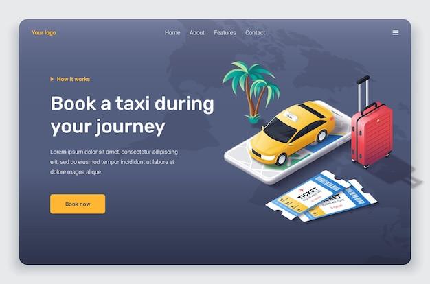 Izometryczny telefon z żółtą taksówką, czerwoną walizką i biletami. szablon strony docelowej.