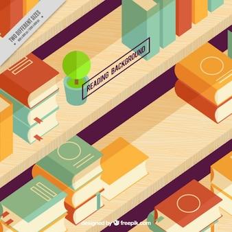 Izometryczny tła z książek na półce