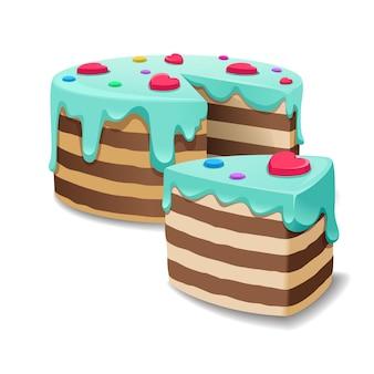 Izometryczny tort i kawałek ciasta