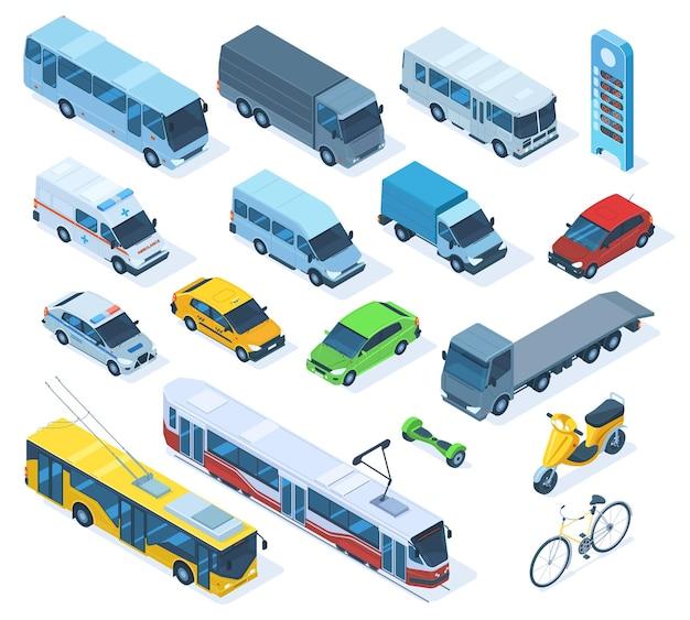 Izometryczny transport 3d, sedan, autobus, samochód pogotowia, ciężarówka. publiczny transport miejski, tramwaj, trolejbus policyjny samochód wektor zestaw ilustracji. transport izometryczny miejskich pojazdów publicznych, rower i pociąg