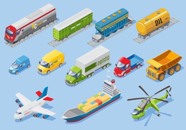 Izometryczny transport logistyczny zestaw z samochodami dostawczymi, samolotem, helikopterem, pociągiem towarowym, wagonami, zbiornikiem oleju na białym tle
