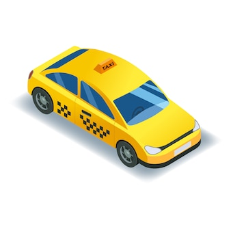 Izometryczny transport samochodów taxi, usługa ikona żółtej taksówki.
