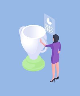 Izometryczny trójwymiarowy projekt formalnej nowoczesnej bizneswoman z białym kubkiem nagród i dokumentem statystycznym wykresu na białym tle na niebieskim tle