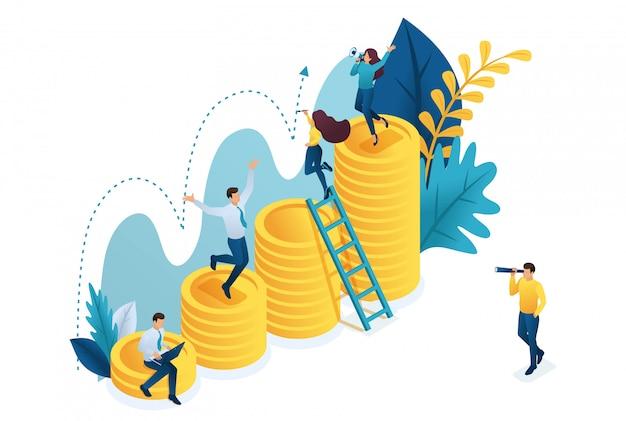 Izometryczny udany wzrost inwestycji, młodzi przedsiębiorcy badają wskaźniki.