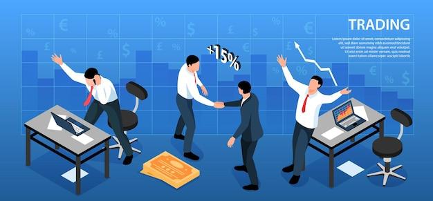 Izometryczny układ poziomy handlu giełdowego ze znakami walutowymi i miejscami pracy handlowców z ilustracją tekstową