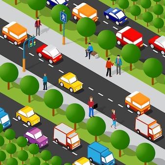 Izometryczny ulica alei autostrady 3d ilustracja dzielnicy miasta z ludźmi