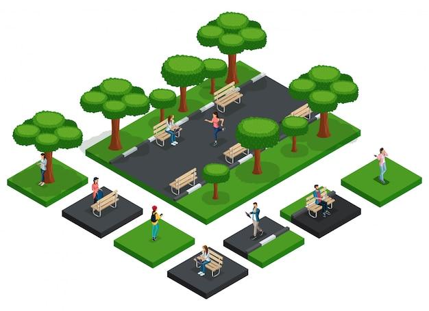 Izometryczny wektor moda ludzie, nastolatki ustawione do stworzenia parku z ludźmi do biegania, miejskie ławki parkowe, izolowane świeżym powietrzem