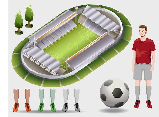 Izometryczny wektor stadionu piłkarskiego