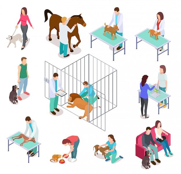 Izometryczny weterynaryjny. zwierzęta schronienia ludzie pieścić pies kot weterynarz wolontariusz weterynarii zestaw kliniki medycyny