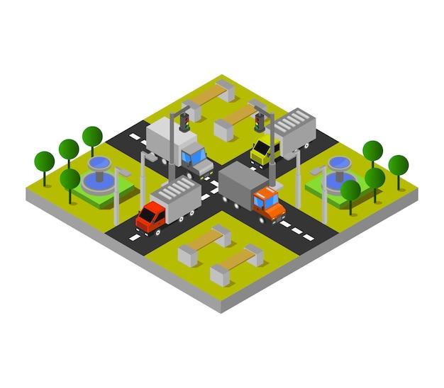 Izometryczny węzeł drogowy
