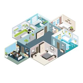 Izometryczny widok wnętrza domu
