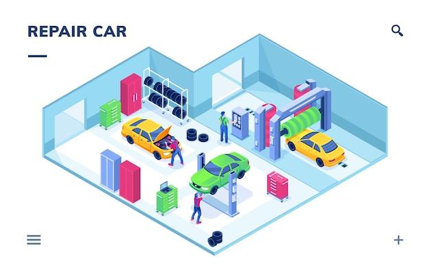 Izometryczny widok wnętrza na serwis samochodowy lub mechanika naprawy samochodów podnoszący pojazd i technik